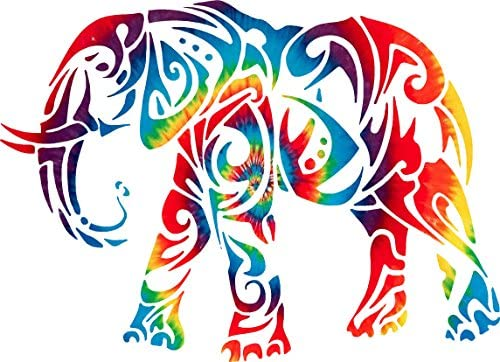 Yeti or Rtic cup size 3 x 4 inch Printed Tie Dyed Elephant Animal car Window Truck Laptop Decal product image