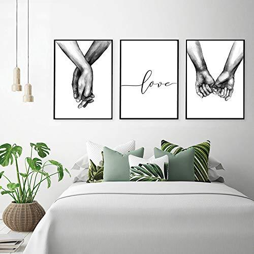 PTQT - Citazione da parete per camera o salotto, quadro decorativo, dipinto su tela, poster motivazionale bianco e nero, decorazione senza cornice, pittura su tela, b, M(30X40CM) Pas de cadre