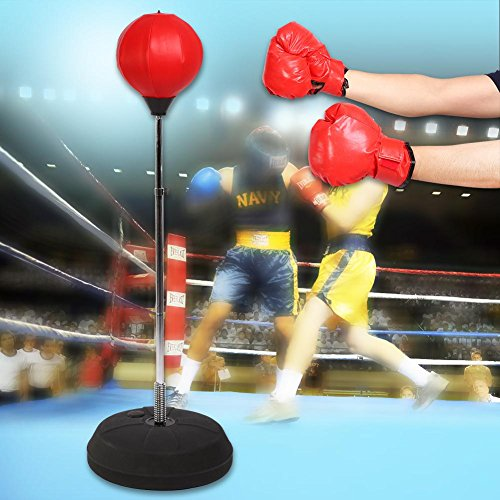GOTOTOP Punching Ball Boxe per Adulti e Adolescenti con guantoni Boxe Regolabile in Altezza da 120 a 150 cm