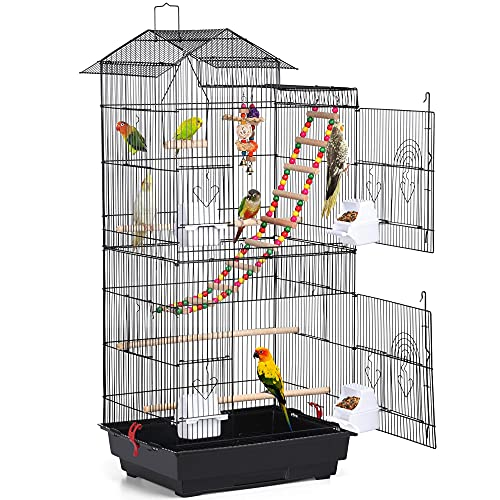 Yaheetech Cage à Oiseaux avec 2 Jouets et 2 Petites Cloches et échelle Noir 46 x 35,5 x 99 cm Volière Perruche Canari Pinson Calopsitte avec Poignée Portable