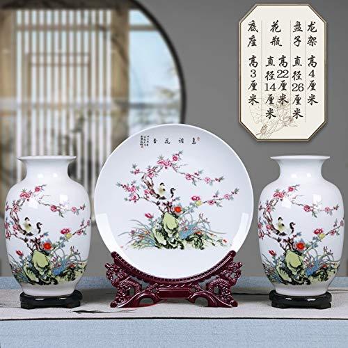 TapTheGlaze decoratieve vazen van 3 Home Decor voor woonkamer, Chinees vintage keramische vazen met draaibare sokkel en keramische plaat met draak gevormd, vogels op rode bloemen boom