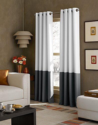 Curtainworks Kendall Color Block Grommet Curtain Panel, 63 Inch, White