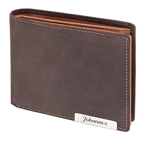 Cadenis Herren Leder Geldbörse Portemonnaie mit Laser-Gravur aus Rindsleder braun Querformat 12 x 9,5 cm