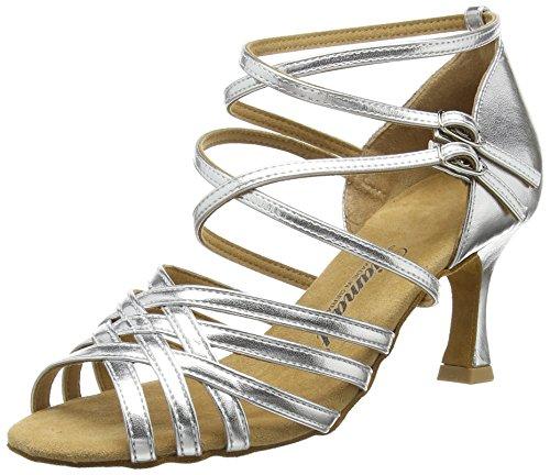 Diamant Damen Latein Tanzschuhe 108-087-013, Damen Tanzschuhe - Standard & Latein, Silber (Silber), 40 2/3