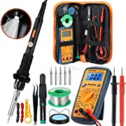 Soldering Iron Kit, Preciva 17-in-1 LED Soldering Iron with Adjustable Temperature 220℃-480℃, 60W Electric Welding Iron, Digital Multimeter, Wire Stripper Cutter, Desoldering Pump and 5 Tips