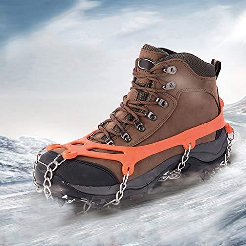 SUMSAYEI Steigeisen Grödel Eisspikes, Schuhkrallen mit 8 Edelstahl Zähne Spikes Schuhkrallen Grödeln Eisspikes für Klettern Bergsteigen Trekking High Altitude Winter Outdoor