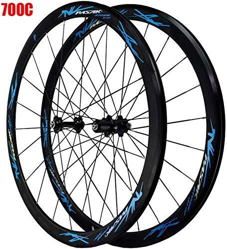 LIMQ Ruedas De Bicicleta De Carretera 700C Ciclismo De Carretera De Doble Pared 40mm Disco/V-Freno Bicicleta De Carretera De Liberación Rápida 24 Agujeros 8/9/10/11 Velocidad,Blue