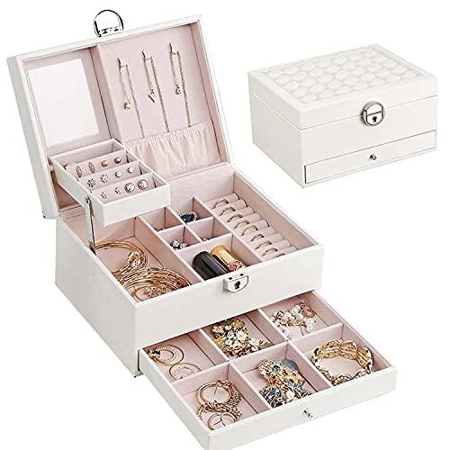 二層ジュエリーボックス ジュエリー収納 ス アクセサリーケース 宝石箱 大容量 引き出し 仕切り調整 PUレザー 鍵付き(ホワイト)