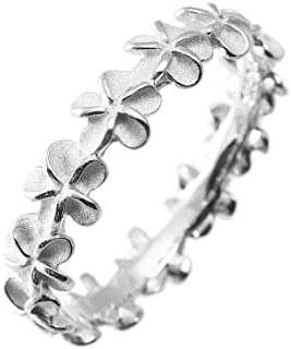 Aloha Jewelry Company Sterling Silver Plumeria Eternity Wedding Band Stackable Ring