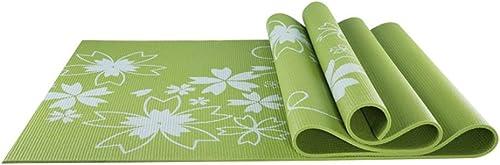 L-HOME Tapis de Yoga imprimé en PVC   173cm  61cm  0.6 (cm)   Couverture de Yoga antidérapante écologique (Couleur   vert)