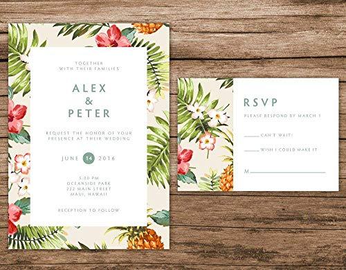Tropical Wedding Invitation, Hawaiian Invitation, Destination Wedding Invitations