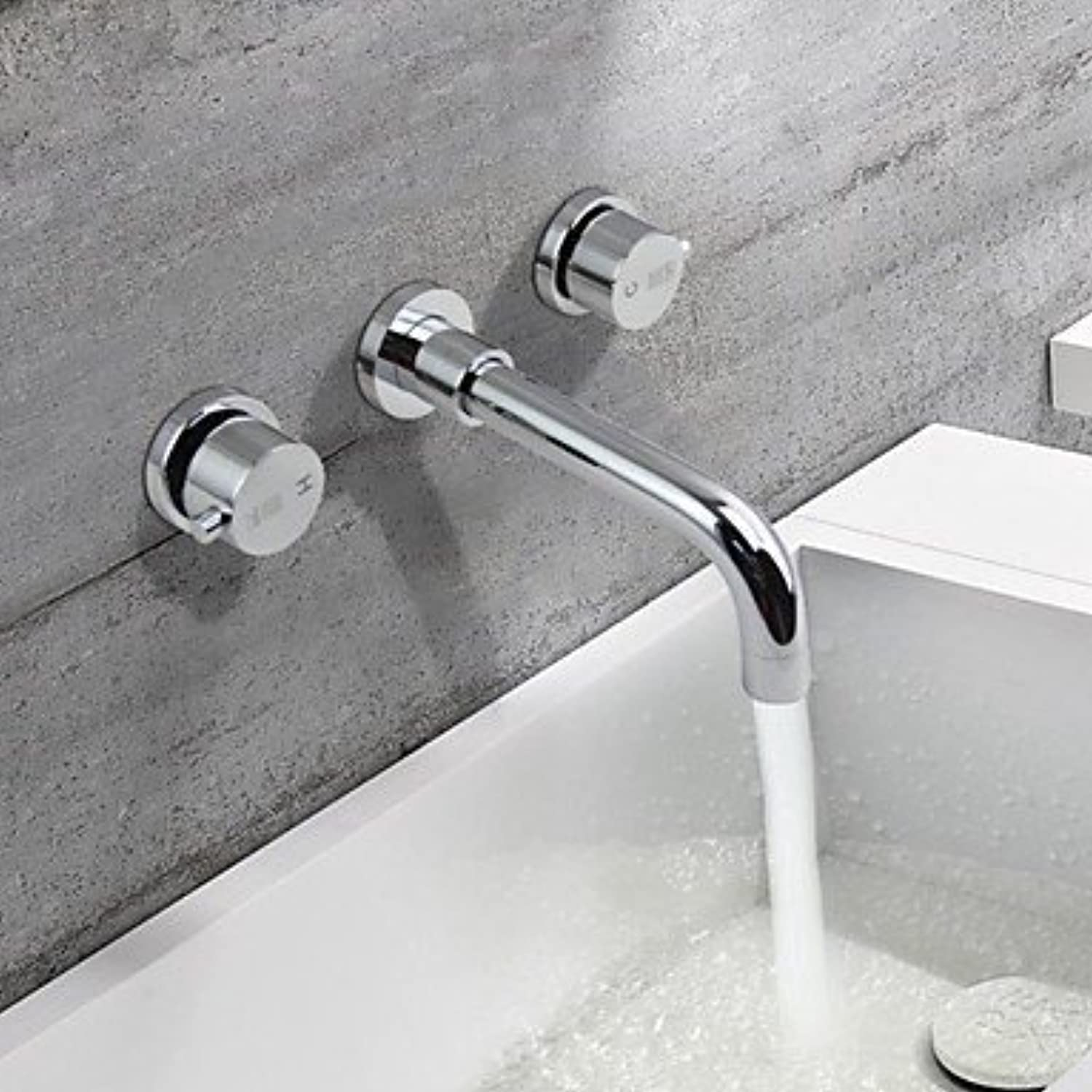 XINXI HOME Basin Tap Chrome Finish Brass Three Holes Two Two Two Handles Sink Faucet Bathroom Faucet Basin Mixer Tap 031158