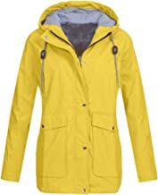 Womens Solid Rain Jacket Outdoor Plus Jackets Waterproof Hooded Raincoat