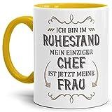 Taza de café de cerámica para jubilación con texto en alemán 'Mein einziger Chef ist jetzt Meine Frau Rente Rentner Pension Abschieds regalo taza taza taza