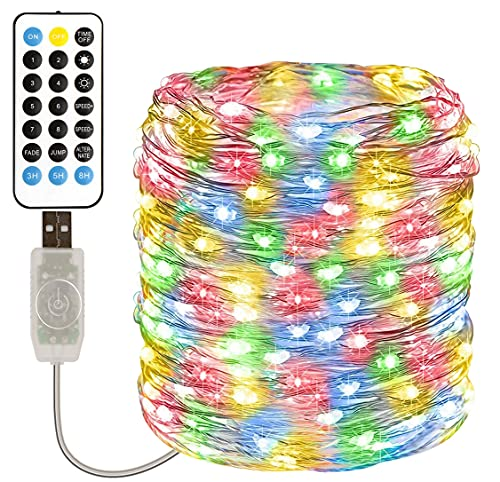 Fairy Lights Plug in, TOPYIYI 12M Multicoloured USB Fairy Lights, 11 Modes 120 LED String Lights with Remote, Waterproof Outdoor Fairy Lights, Indoor Fairy Lights for Bedroom Curtain Party Wedding