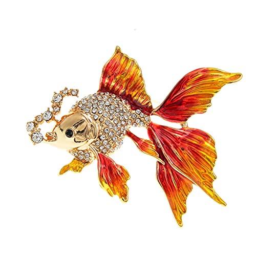 Nuevos broches de Peces de Oro para Las Mujeres Lindo Animal Diseño de Rhinestone Design Broche Pin Emalario Joyería Regalos Accesorios Vintage