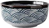 QMJYP Tazón Grande de Estilo japonés, Cuenco Cuenco Ramen Plato de arroz Ensalada Tazón Sopa Grande Tazón de cerámica Estilo japonés Tazón de cerámica Azul 7 Pulgadas