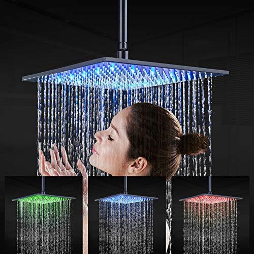 JunSheng Alcachofa de ducha LED de 16 pulgadas, cabezal de ducha cuadrado negro mate, boquillas de silicona fáciles de limpiar, grifo fijo para ducha