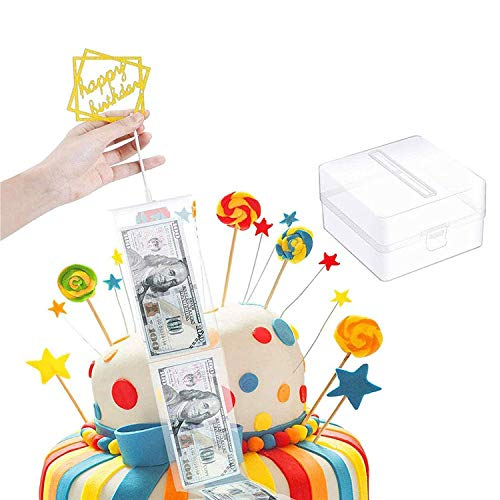 NININI Caja de Dinero de Pastel Molde con 20 Bolsas Transparentes,Cake ATM para Hacer Tarta Sacando Dinero Caja de Sacar Dinero Reutilizable