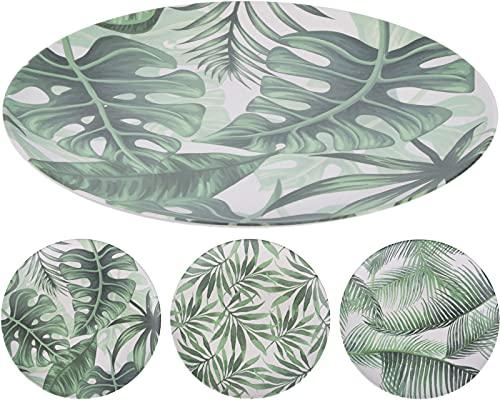 Set 12 platos de fibra de bambú, Platos de bambú de 25cm de unos 125 grs. 3 diseños variados de hojas de haya.