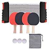 1st Disc Ping Pong Paddle Set with Retractable Net (Bracket Clamps), Includes 4 ping Pong Paddles,3 Table...
