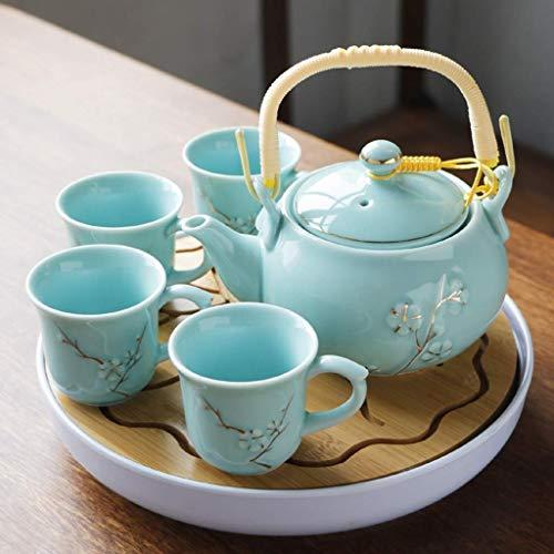 TNSYGSB 6 unids Hecho a Mano Esmalte de Porcelana Color Set de té Zen Tea Health Teaset Tetera de Gran Capacidad Tetera Café Café y CoffeCups Juego