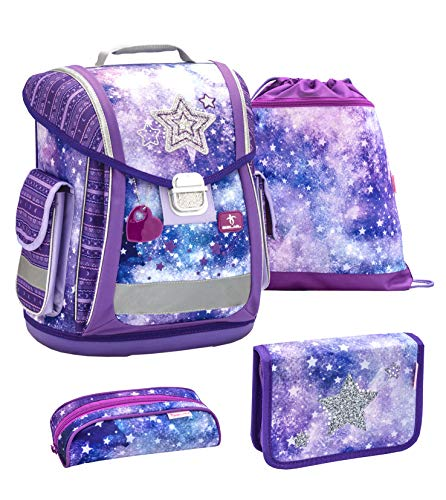 Belmil ergonomischer Schulranzen Groß Set 4-teilig für Mädchen 1, 2, 3, Klasse/Leicht: 950-1000 g/lila Purple Sterne Stars (404-5 Stars)