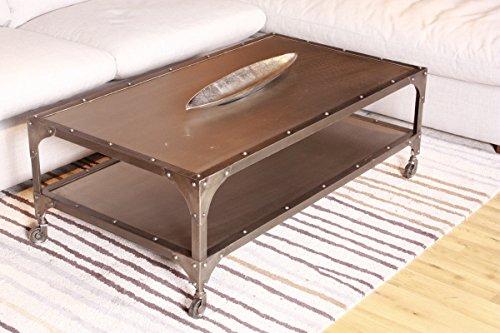 KAWOLA Couchtisch RIKA Beistelltisch rollbar mit Ablage Lowboard Metall grau 134x43x71cm