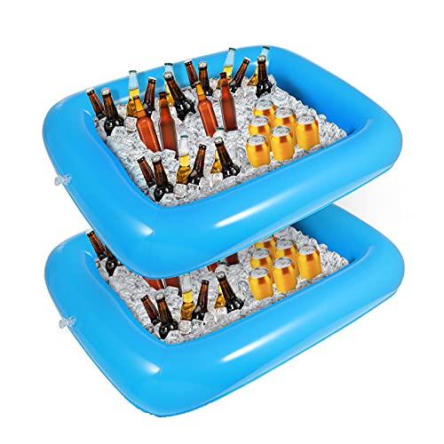 Hemoton 2pcs Aufblasbare Buffet serviert & Salat Bar EIS Eimer Essen Kühler Aufblasbare Bier Trinken Tablett, Essen Trinken Halter BBQ Picknick Pool, mit Ablaßschraube(blau)