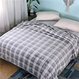 ChezMax Classic Grid Design Extra Soft Microfiber Thickening Coral Fleece Throw/Bed Blanket Lightweight