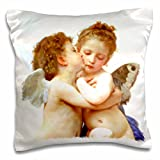 3dRose pc_155624_1 Cupid and Psyche as Children 1890-L Amour Infants-Bouguereau-Baby Angel Cherubs Kiss-Classic-Pillow Case, 16 by 16'