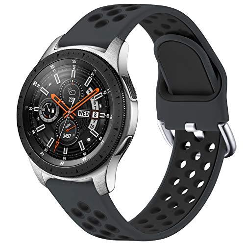 JUVEL Kompatibel mit Samsung Galaxy Watch 46mm Armband/Samsung Gear S3 Armband, 22mm Weiches Silikon Armband Atmungsaktive Sport Ersatzbänder für Galaxy Watch 3 45mm, Groß, Kohleschwarz