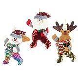 Wanghuaner 3 unids/set decoraciones de árbol de Navidad elaborada artesanía lentejuelas Santa Claus muñeco de nieve alce colgante adornos muñeca colgante