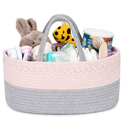 COSYLAND Organizador de Pañales para Bebé Multifuncional, Cesta de Almacenamiento de Pañales de Gran Capacidad con Compartimentos Extraíbles, Regalo Ideal de Viaje para Bebés Recién Nacidos, Gris+Rosa