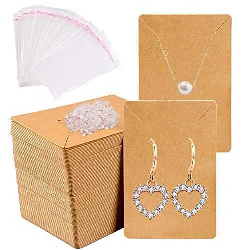 150pcs Earrings and Necklace Display Cards with Self-Sealing Bags Earring Card Holder, Earring Display Cards for Ear Studs, Earrings, Necklaces, Kraft Color, 3.5x2.4inch