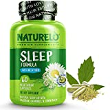 NATURELO Sleep Aid - with Melatonin, Magnesium, GABA, Valerian Root, Lemon Balm, Chamomile Herbal Extracts - Plant-Based Sleeping Aid - 60 Vegan Capsules