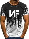 TOPS&105 Men's NF Rapper Logo Tshirt Apparel Casual Shirt 3D Printing Short Sleeve Round Neck Summer Sport T-Shirt White