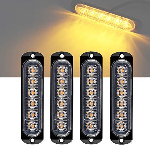 Luz Estroboscópica Intermitente Emergencia, 6 Led Universal IP65 Impermeable Ámbar Advertencia de Seguridad Luz Estroboscópica de Peligro Rejilla Intermitente Barra de Luces de Trabajo (6 LED