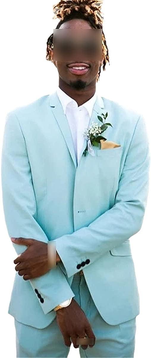 CACLSL Men's Mint Green Suit 2-Piece Beach Best Man Wedding Lapel Prom Suit Jacket + Pants