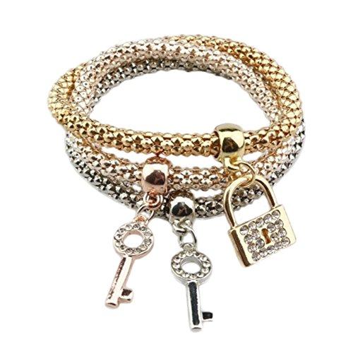 lameida pulsera joyas colgante cadena de diamantes pulsera tres capas Rough cadena combinación de tres piezas Fashion cierre (17cm)