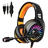 ZIUMIER Z20 Gaming Headset for PS4, Xbox One, PC, with Noise Isolation Microphone, 50mm Driver, RGB LED Light, Surround Sound, Orange