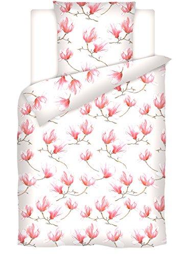 RF My Home Schöne Baumwoll-Satin Bettwäsche Magnolie Creme 135x200 + 80x80cm