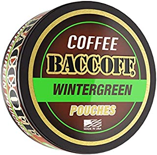 BaccOff, Premium Flavored Coffee Pouches, No Tobacco Dip, No Nicotine Smokeless Alternative Snuff, Wintergreen (1 Can)