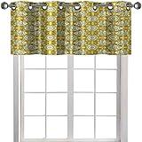 Cenefa de cocina, diseño de peces de acuario con rayas sobre fondo de composición floral, 91.4 cm de ancho x 45.7 cm de largo, cortinas para ventanas, caléndula, beige y amarillo