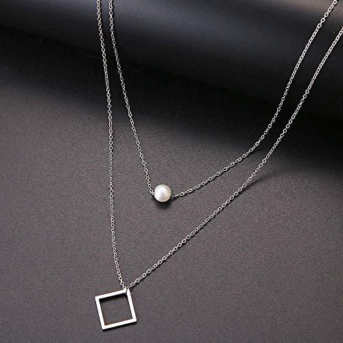 Halskette Mode Pearl Square Double Layer Halskette Accessoires Damen Halsketten Bijoux Valentinstag Edelstahl Schmuck Silber