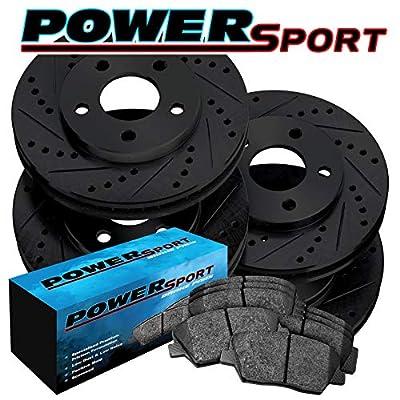 Full Kit PowerSport Black Drill/Slot Brake Rotors Kit + Ceramic Pads BBCC.65152.02