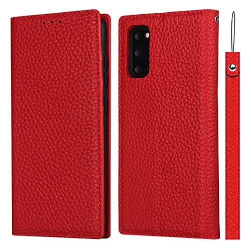 SailorTech för Samsung Galaxy S20 plånboksfodral, lyxig Litchi-korn äkta läderfodral skydd med handledsrem folio flip telefonfodral med kort kontanter platser hållare ställ röd