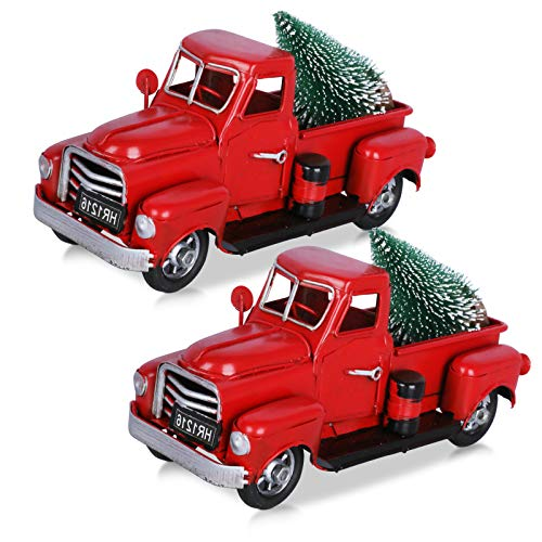 Hooqict 2pcs Christmas Vintage Red Truck with Mini Christmas Trees Ornaments, Handmade Red Metal Xmas Truck Car for Christmas Holiday Centerpiece Table Decorations