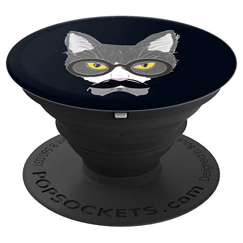 Cat Mustache Shirt Funny Moustache T Shirt Animal Gift Men PopSockets Grip and Stand for Phones and Tablets