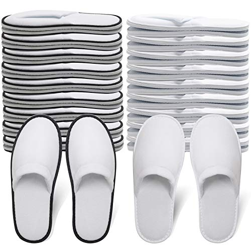 Hotel Spa Slippers Closed Toe Home Guest Slippers for Adult 20 Pairs for Men and Women White